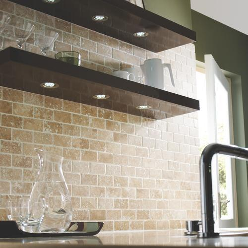 travertine brick mosaic kitchen